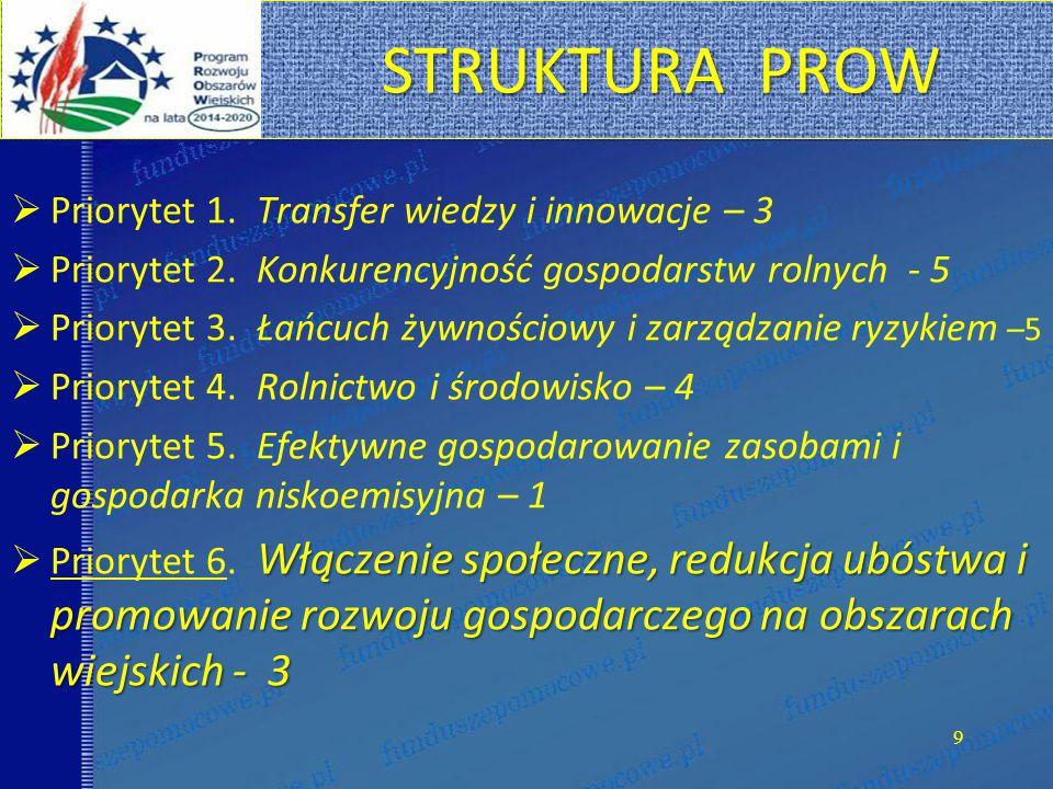 STRUKTURA PROW Priorytet 1. Transfer wiedzy i innowacje – 3