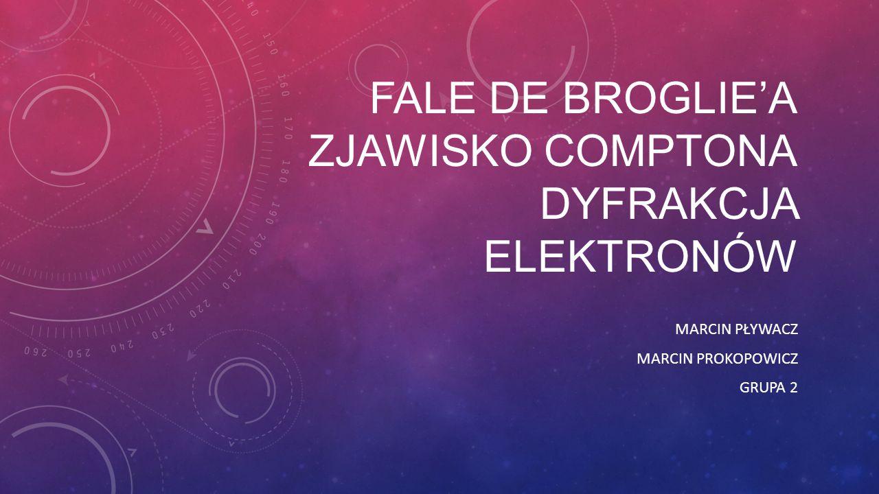 Fale de broglie'a Zjawisko comptona dyfrakcja elektronów