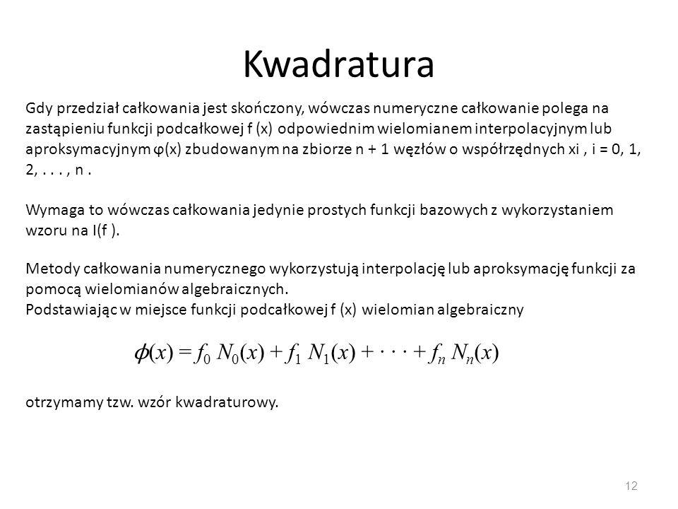 Kwadratura ϕ(x) = f0 N0(x) + f1 N1(x) + · · · + fn Nn(x)