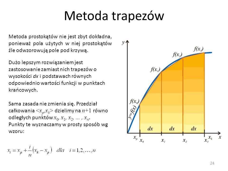 Metoda trapezów Metoda prostokątów nie jest zbyt dokładna, ponieważ pola użytych w niej prostokątów źle odwzorowują pole pod krzywą.
