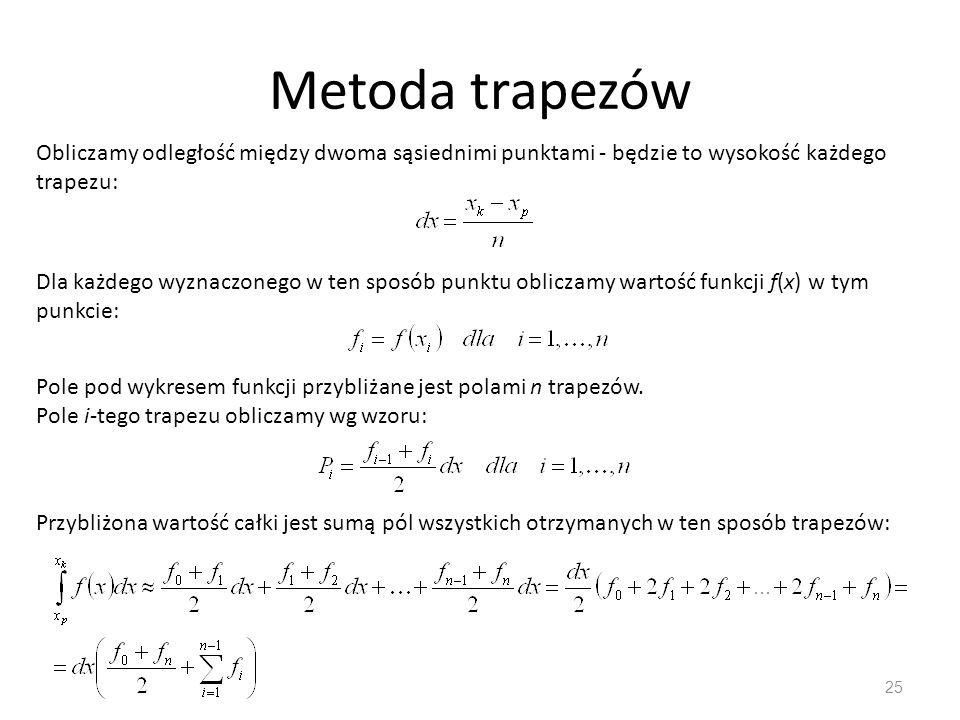 Metoda trapezów Obliczamy odległość między dwoma sąsiednimi punktami - będzie to wysokość każdego trapezu:
