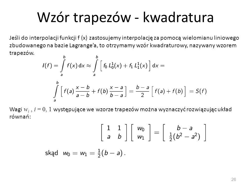Wzór trapezów - kwadratura
