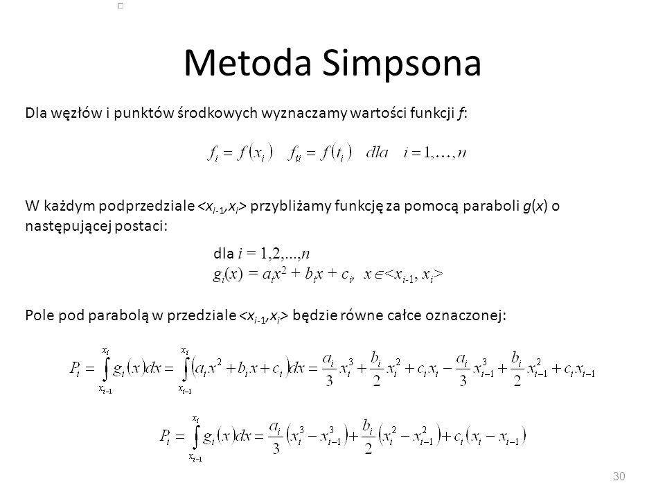 Metoda Simpsona Dla węzłów i punktów środkowych wyznaczamy wartości funkcji f: