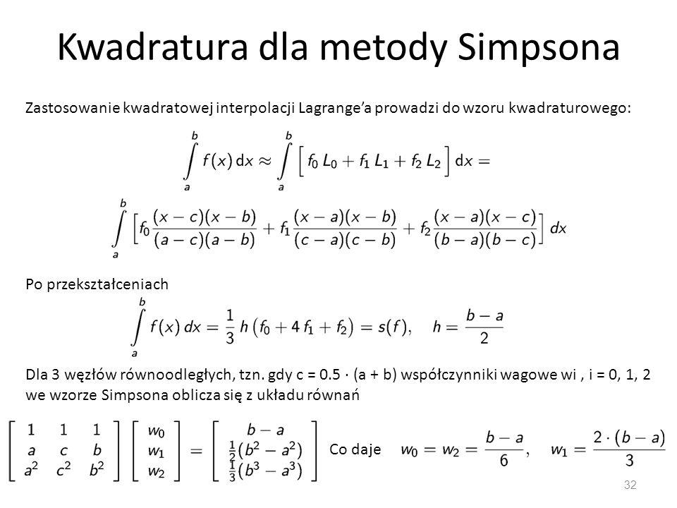 Kwadratura dla metody Simpsona