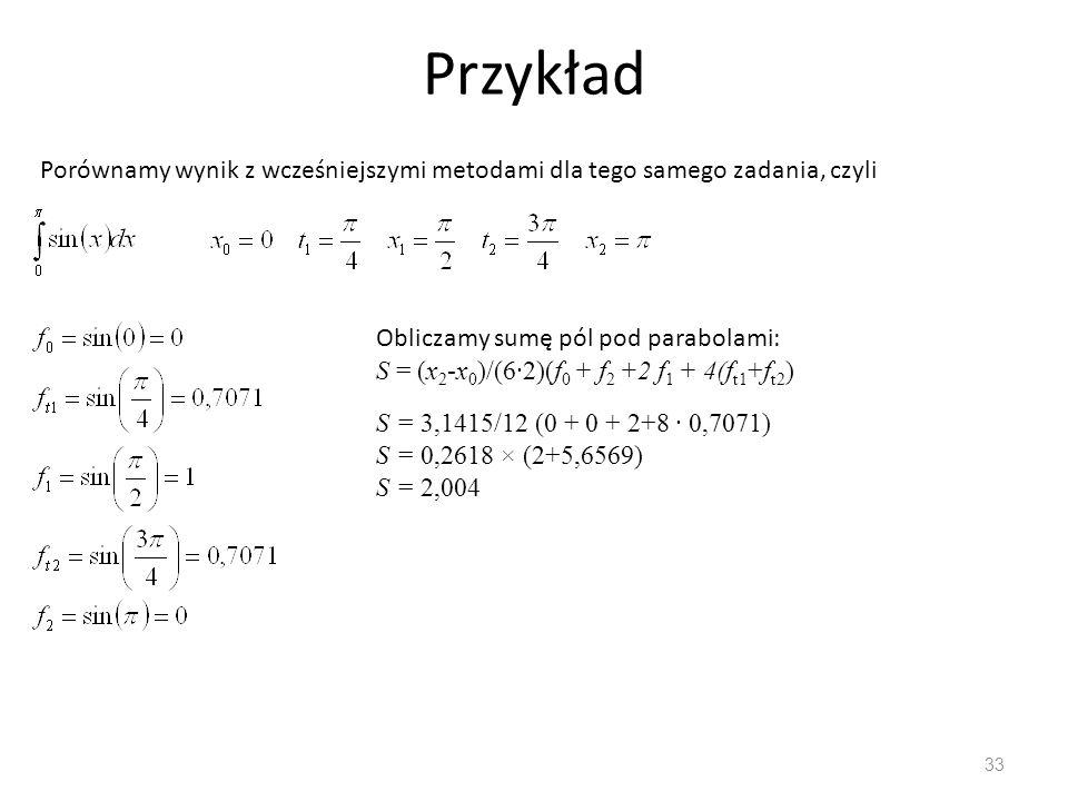 Przykład Porównamy wynik z wcześniejszymi metodami dla tego samego zadania, czyli. Obliczamy sumę pól pod parabolami: