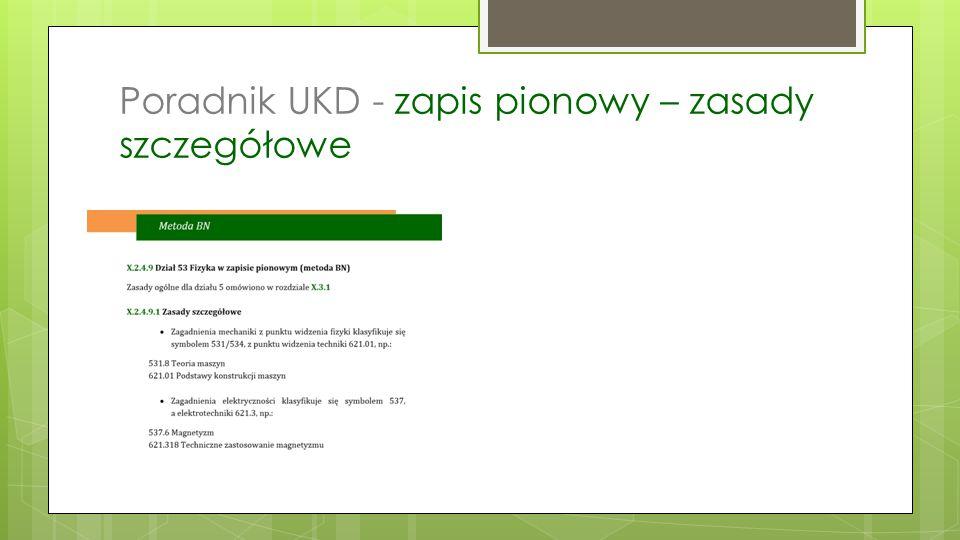 Poradnik UKD - zapis pionowy – zasady szczegółowe