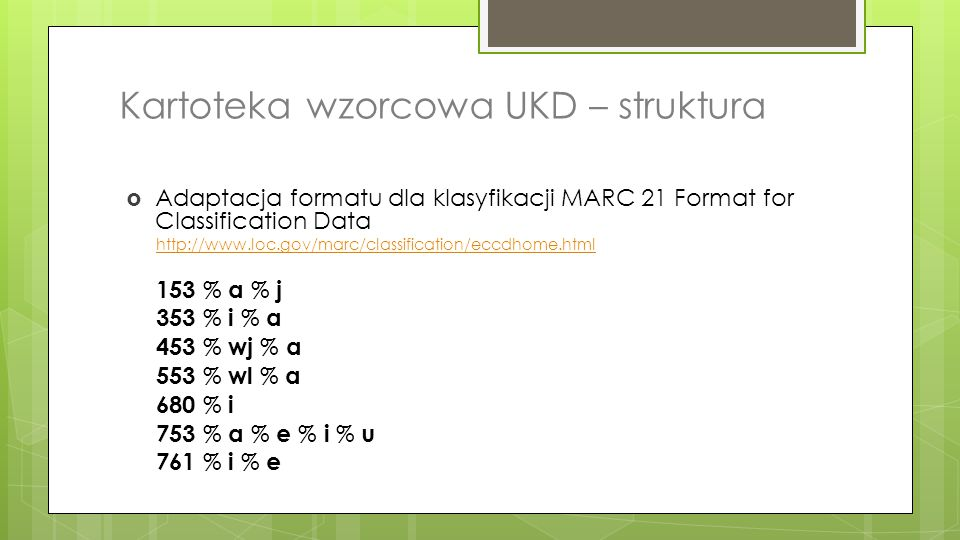 Kartoteka wzorcowa UKD – struktura
