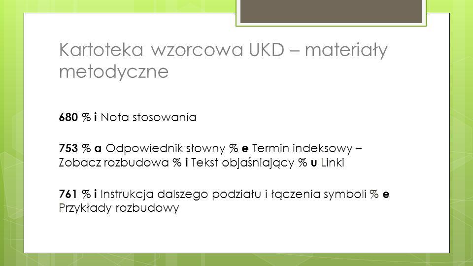 Kartoteka wzorcowa UKD – materiały metodyczne