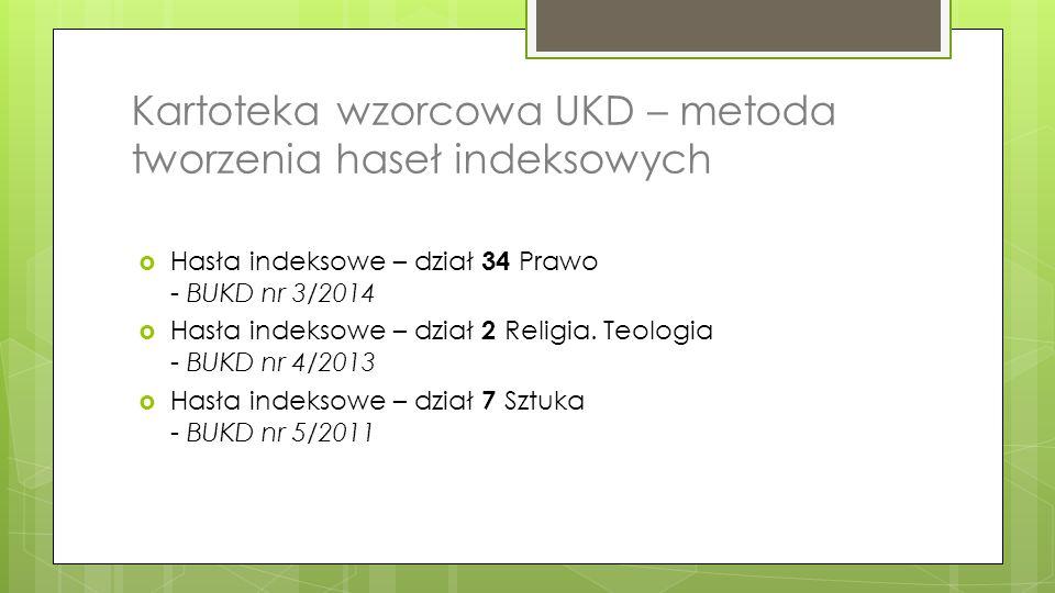 Kartoteka wzorcowa UKD – metoda tworzenia haseł indeksowych