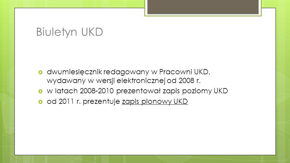 Biuletyn UKD dwumiesięcznik redagowany w Pracowni UKD, wydawany w wersji elektronicznej od 2008 r. w latach 2008-2010 prezentował zapis poziomy UKD.