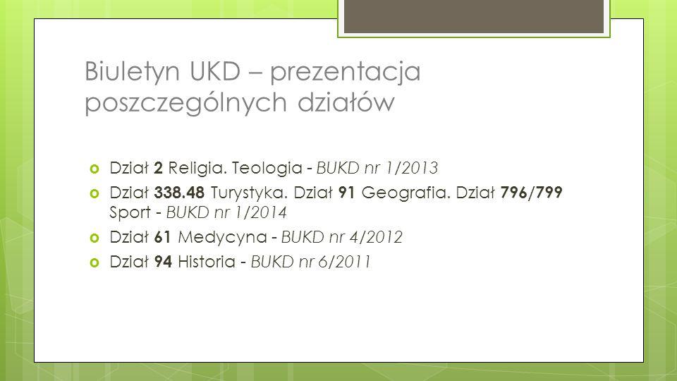 Biuletyn UKD – prezentacja poszczególnych działów