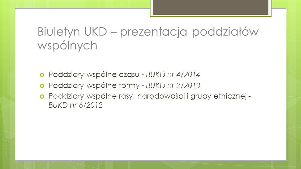 Biuletyn UKD – prezentacja poddziałów wspólnych
