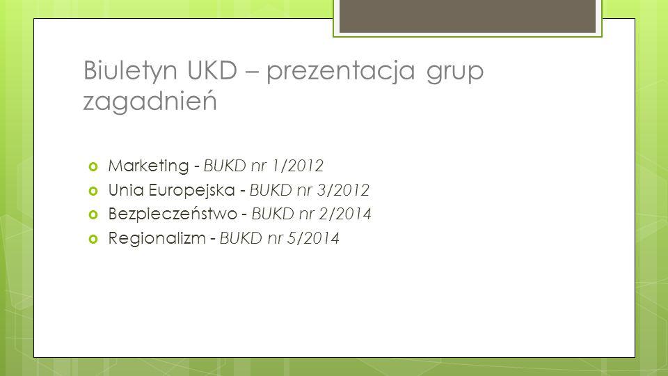 Biuletyn UKD – prezentacja grup zagadnień