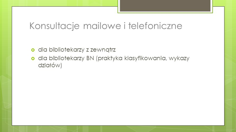 Konsultacje mailowe i telefoniczne