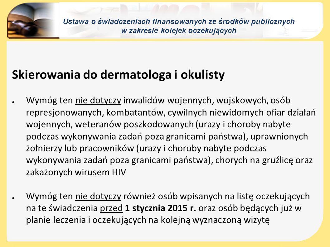 Skierowania do dermatologa i okulisty