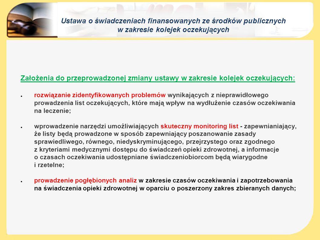Ustawa o świadczeniach finansowanych ze środków publicznych w zakresie kolejek oczekujących