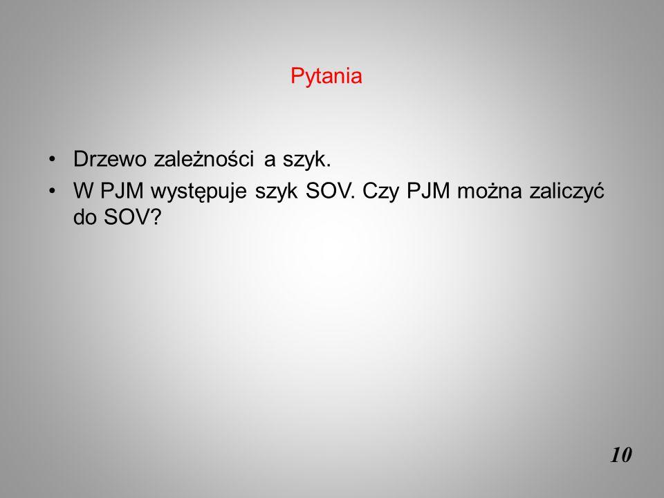 Pytania Drzewo zależności a szyk. W PJM występuje szyk SOV. Czy PJM można zaliczyć do SOV 10
