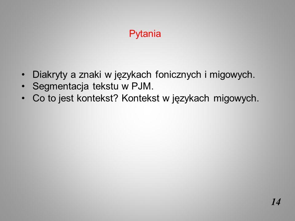 Pytania Diakryty a znaki w językach fonicznych i migowych. Segmentacja tekstu w PJM. Co to jest kontekst Kontekst w językach migowych.