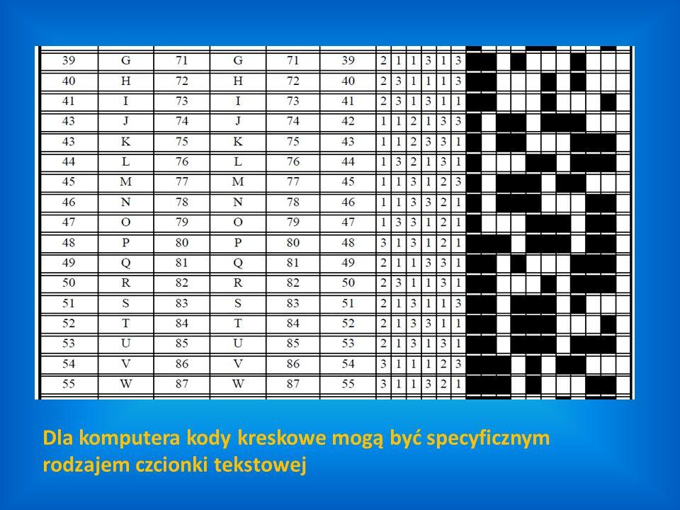 Dla komputera kody kreskowe mogą być specyficznym rodzajem czcionki tekstowej