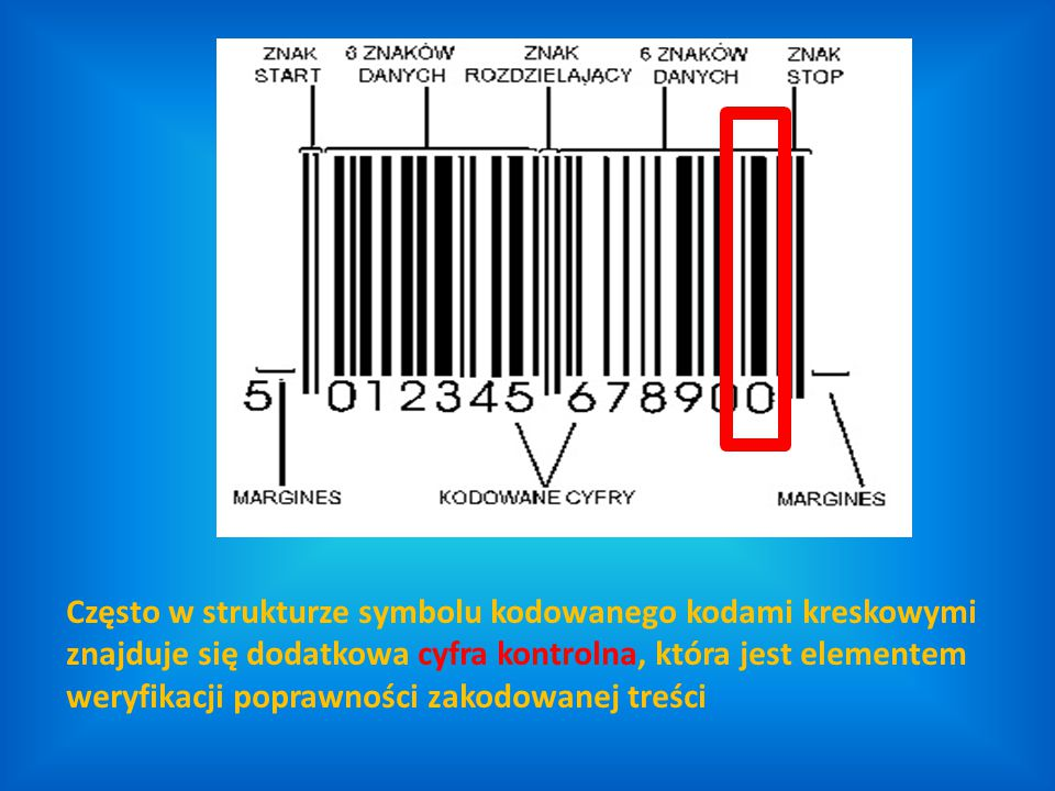 Często w strukturze symbolu kodowanego kodami kreskowymi znajduje się dodatkowa cyfra kontrolna, która jest elementem weryfikacji poprawności zakodowanej treści