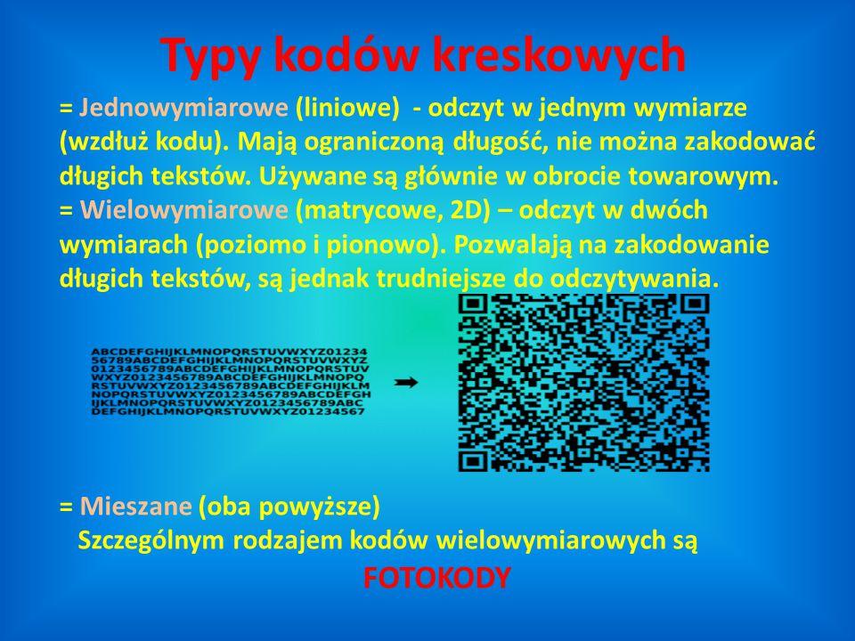 Typy kodów kreskowych FOTOKODY