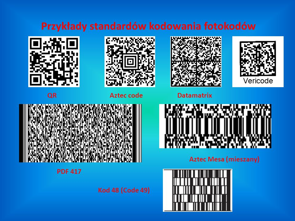 Przykłady standardów kodowania fotokodów