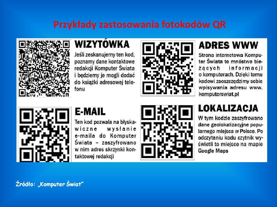 Przykłady zastosowania fotokodów QR