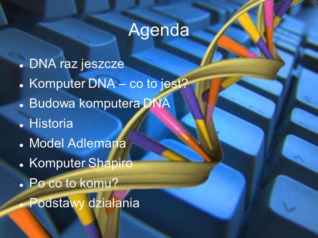 Agenda DNA raz jeszcze Komputer DNA – co to jest Budowa komputera DNA