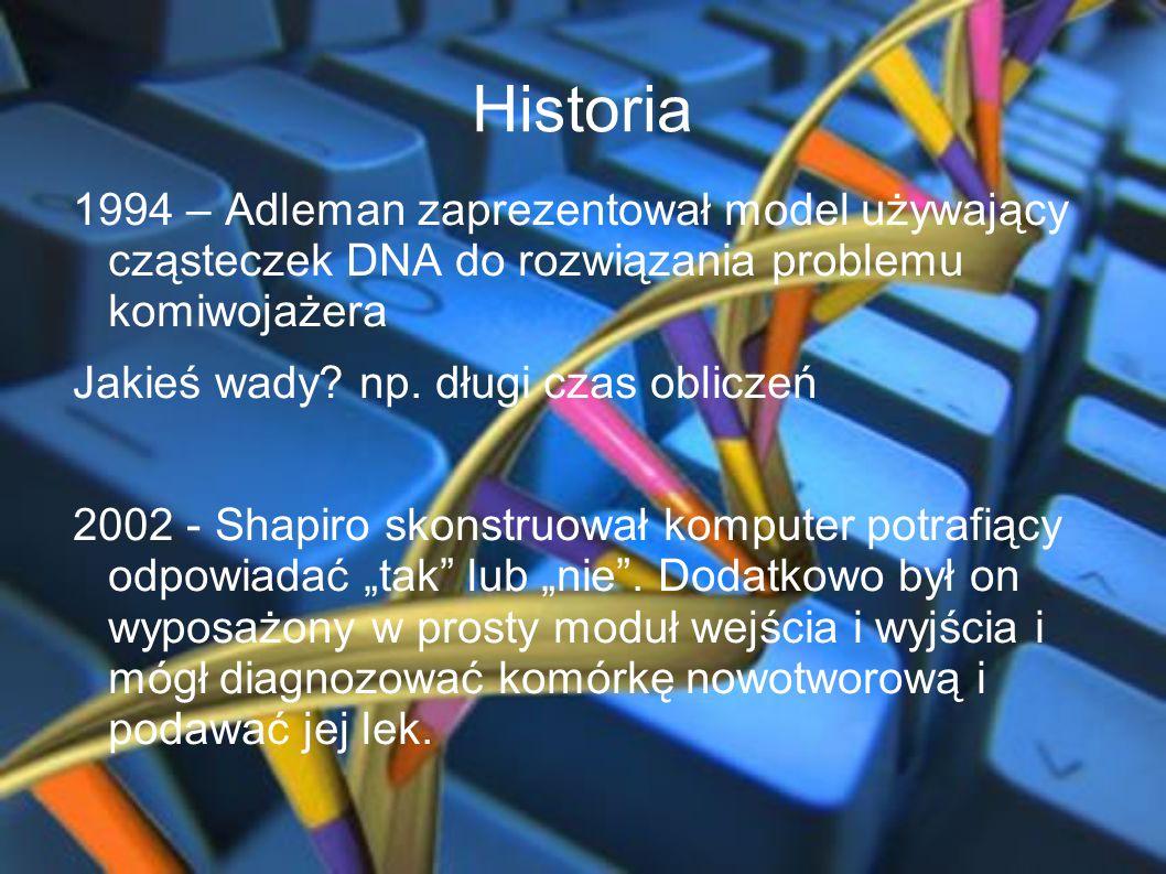 Historia 1994 – Adleman zaprezentował model używający cząsteczek DNA do rozwiązania problemu komiwojażera.