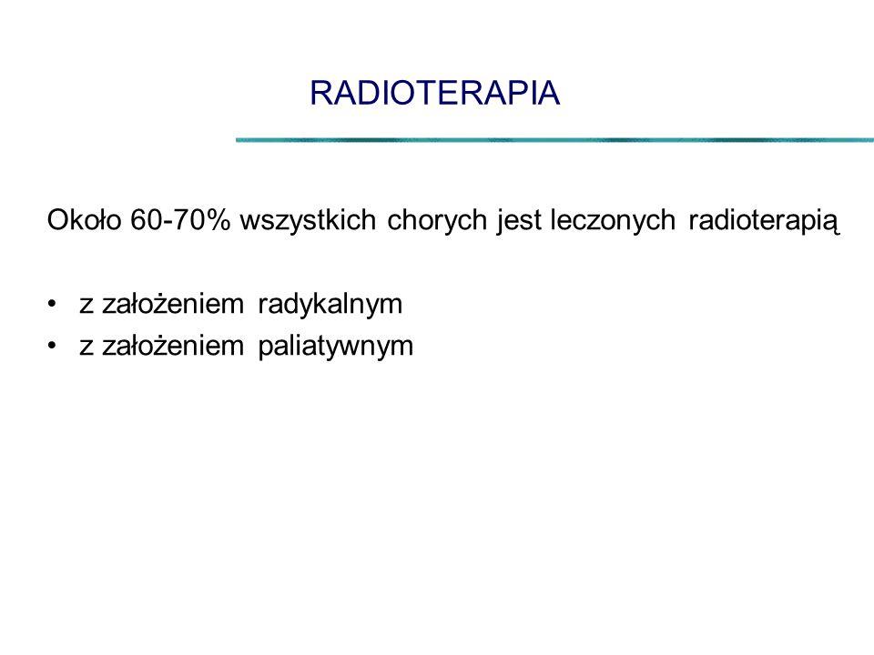 RADIOTERAPIA Około 60-70% wszystkich chorych jest leczonych radioterapią. z założeniem radykalnym.