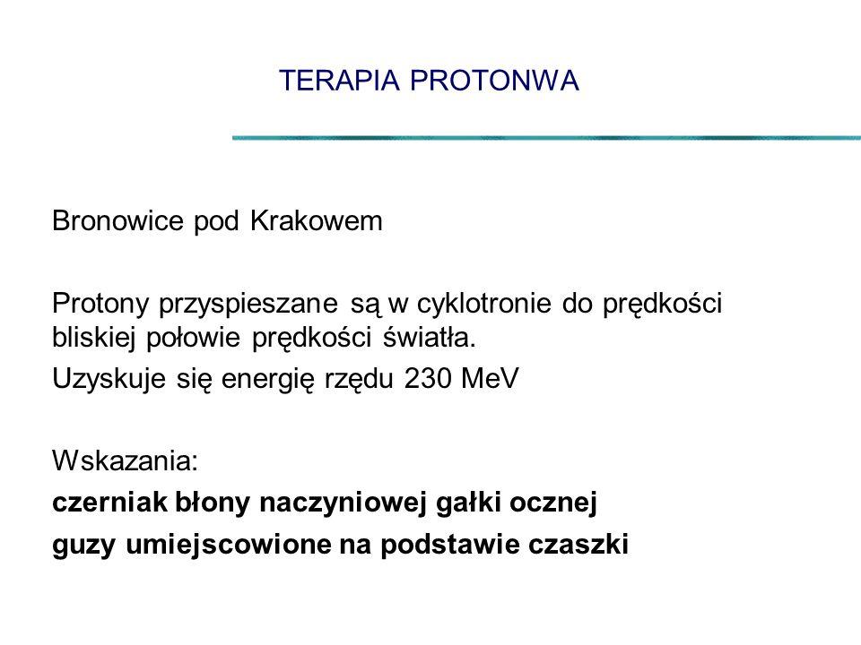 TERAPIA PROTONWA Bronowice pod Krakowem. Protony przyspieszane są w cyklotronie do prędkości bliskiej połowie prędkości światła.