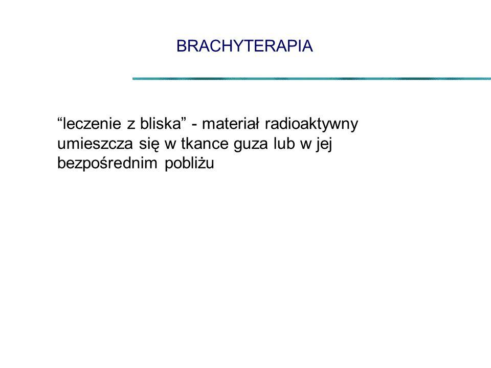 BRACHYTERAPIA leczenie z bliska - materiał radioaktywny umieszcza się w tkance guza lub w jej bezpośrednim pobliżu.