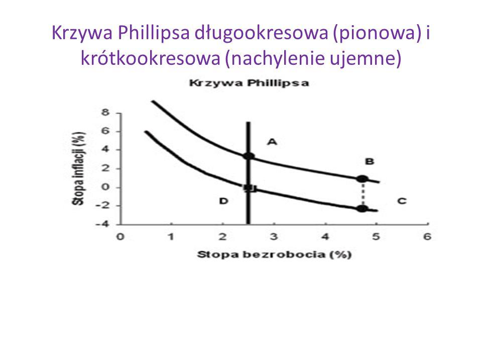 Krzywa Phillipsa długookresowa (pionowa) i krótkookresowa (nachylenie ujemne)