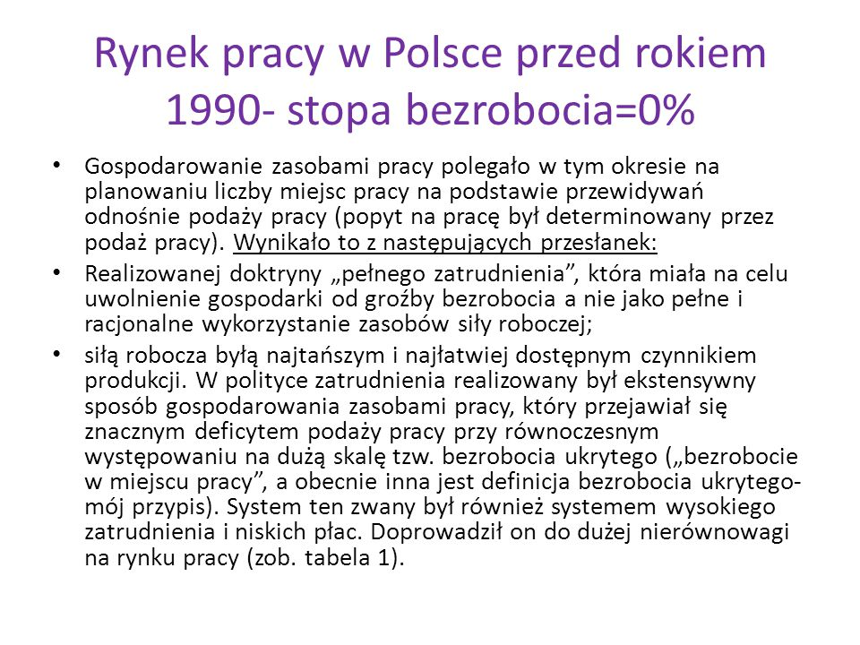 Rynek pracy w Polsce przed rokiem 1990- stopa bezrobocia=0%