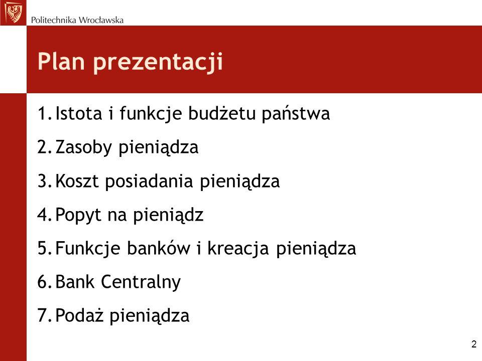 Plan prezentacji Istota i funkcje budżetu państwa Zasoby pieniądza