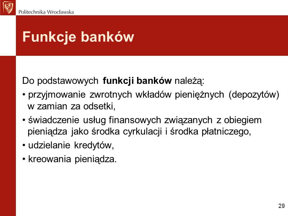 Funkcje banków Do podstawowych funkcji banków należą: