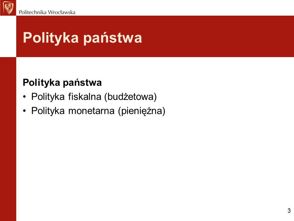 Polityka państwa Polityka państwa Polityka fiskalna (budżetowa)