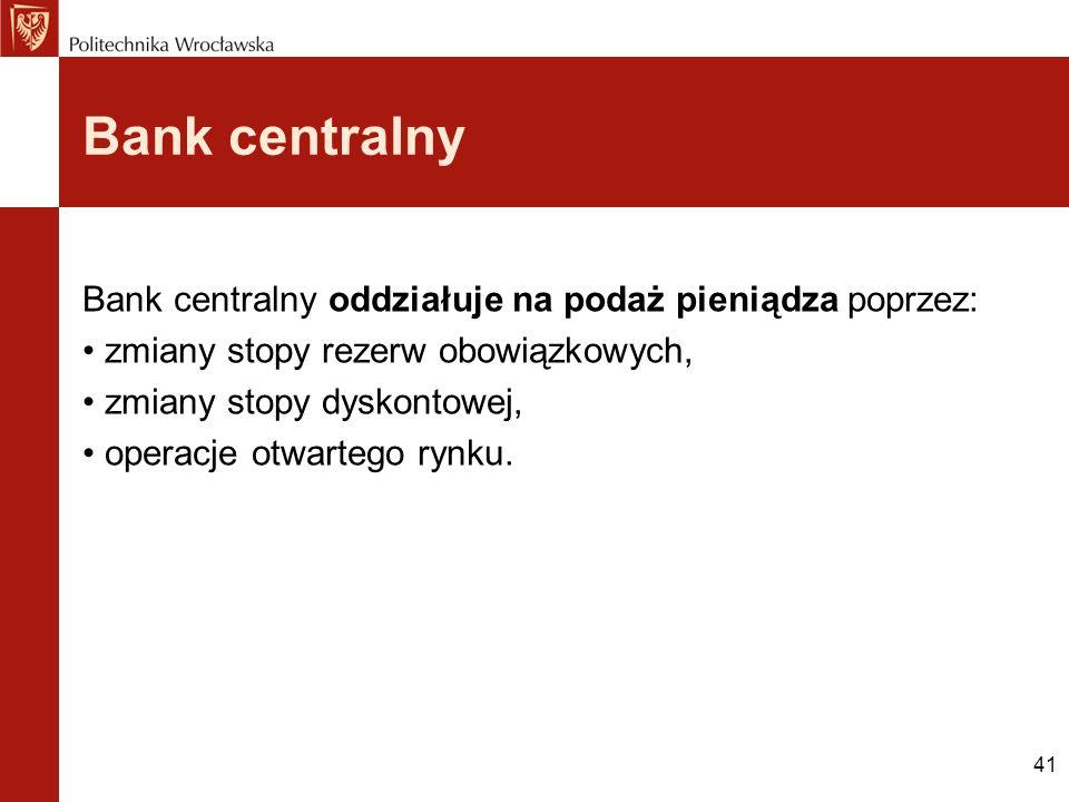 Bank centralny Bank centralny oddziałuje na podaż pieniądza poprzez: