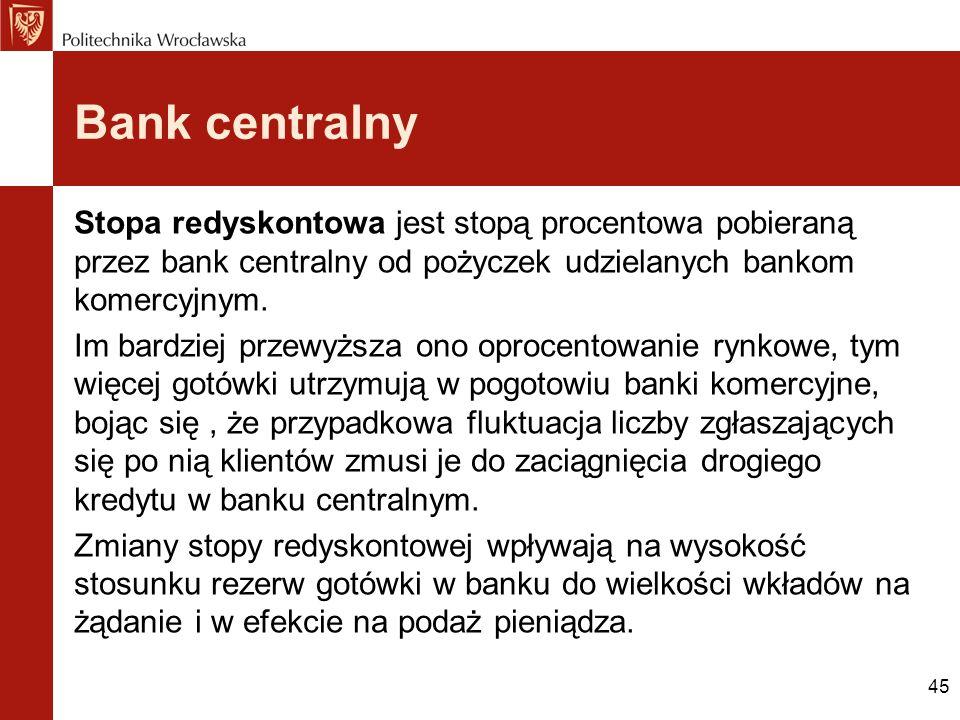 Bank centralny Stopa redyskontowa jest stopą procentowa pobieraną przez bank centralny od pożyczek udzielanych bankom komercyjnym.
