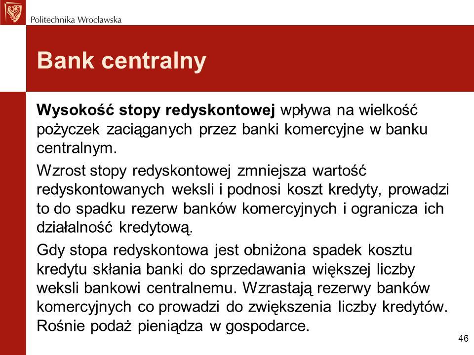 Bank centralny Wysokość stopy redyskontowej wpływa na wielkość pożyczek zaciąganych przez banki komercyjne w banku centralnym.