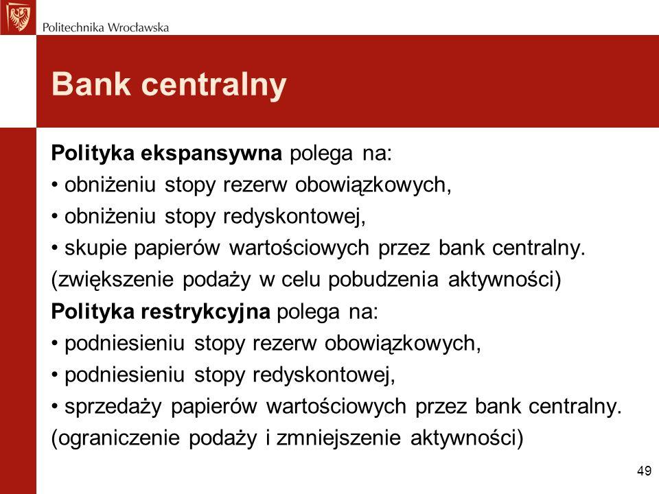 Bank centralny Polityka ekspansywna polega na: