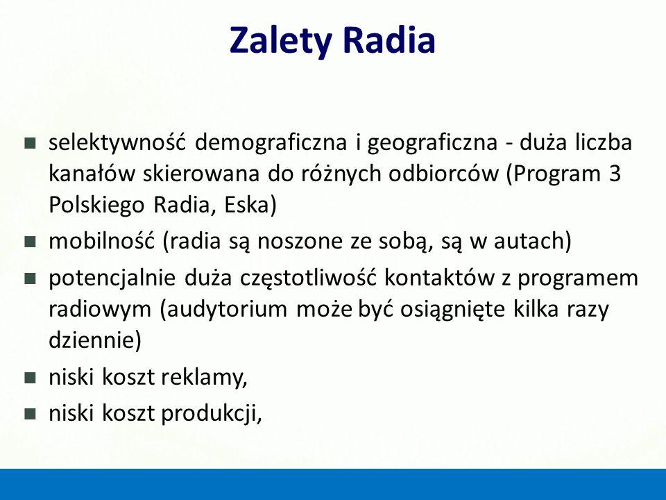 Zalety Radia selektywność demograficzna i geograficzna - duża liczba kanałów skierowana do różnych odbiorców (Program 3 Polskiego Radia, Eska)