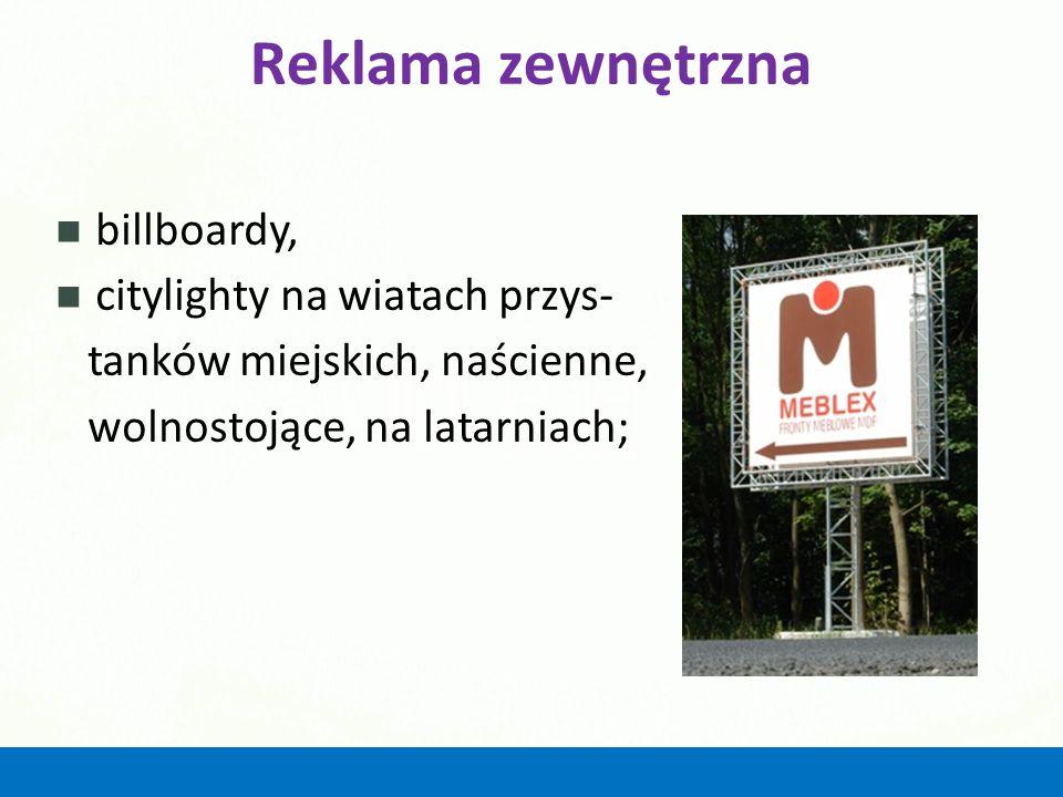 Reklama zewnętrzna billboardy, citylighty na wiatach przys-