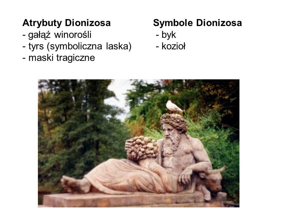 Atrybuty Dionizosa - gałąź winorośli. tyrs (symboliczna laska) maski tragiczne. Symbole Dionizosa.