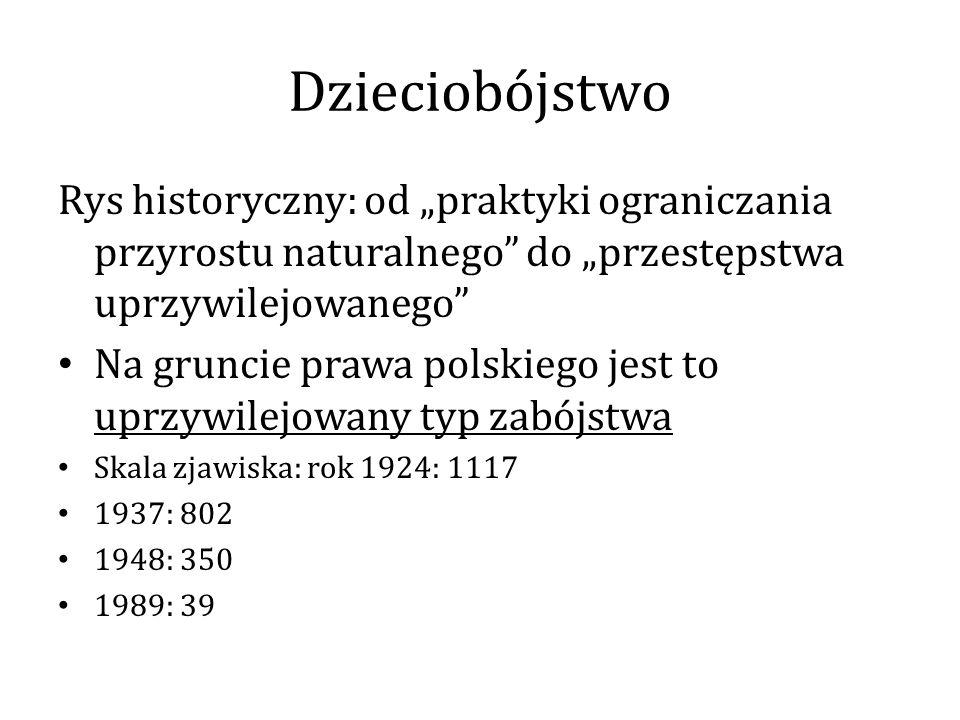 """Dzieciobójstwo Rys historyczny: od """"praktyki ograniczania przyrostu naturalnego do """"przestępstwa uprzywilejowanego"""