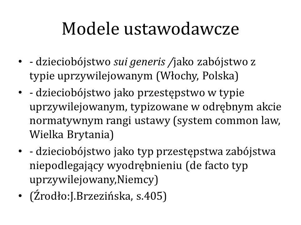 Modele ustawodawcze - dzieciobójstwo sui generis /jako zabójstwo z typie uprzywilejowanym (Włochy, Polska)