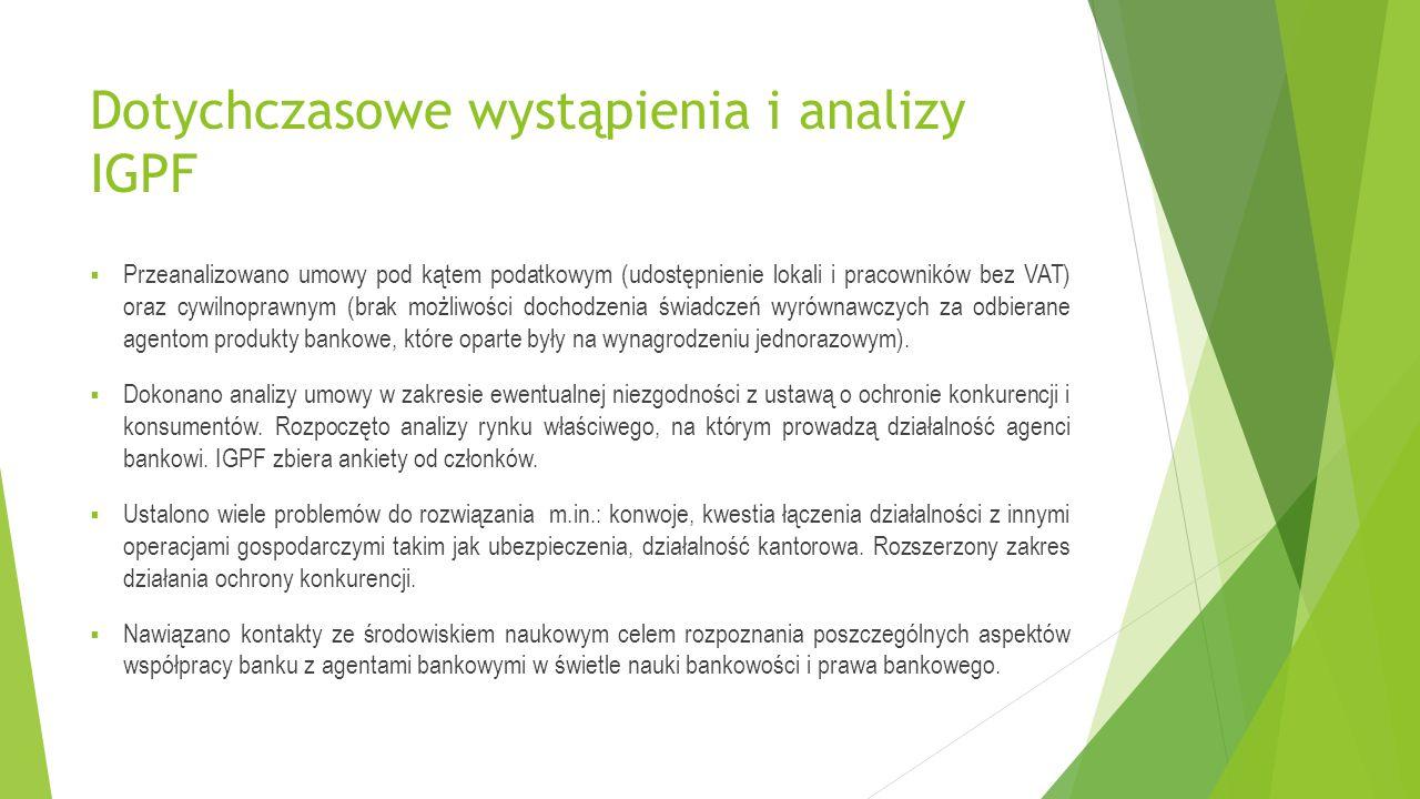 Dotychczasowe wystąpienia i analizy IGPF