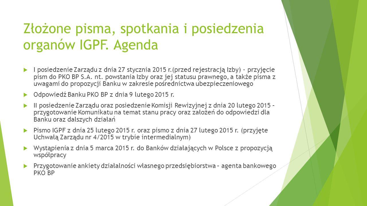 Złożone pisma, spotkania i posiedzenia organów IGPF. Agenda