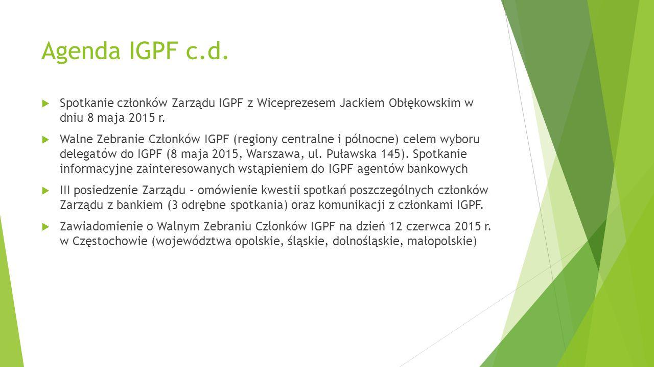 Agenda IGPF c.d. Spotkanie członków Zarządu IGPF z Wiceprezesem Jackiem Obłękowskim w dniu 8 maja 2015 r.