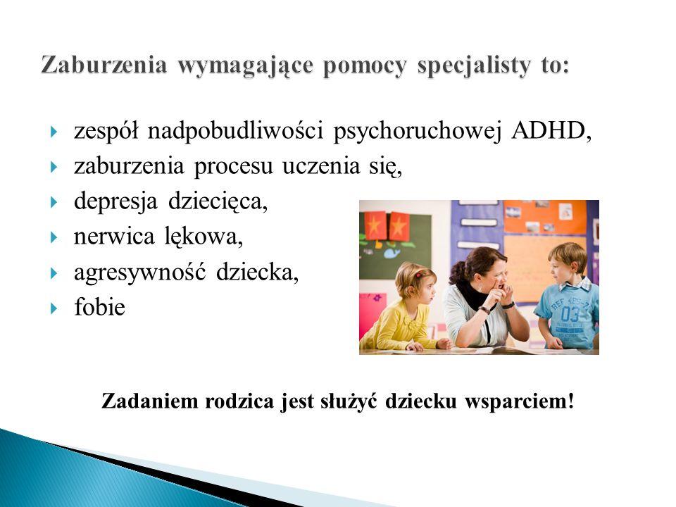 Zaburzenia wymagające pomocy specjalisty to: